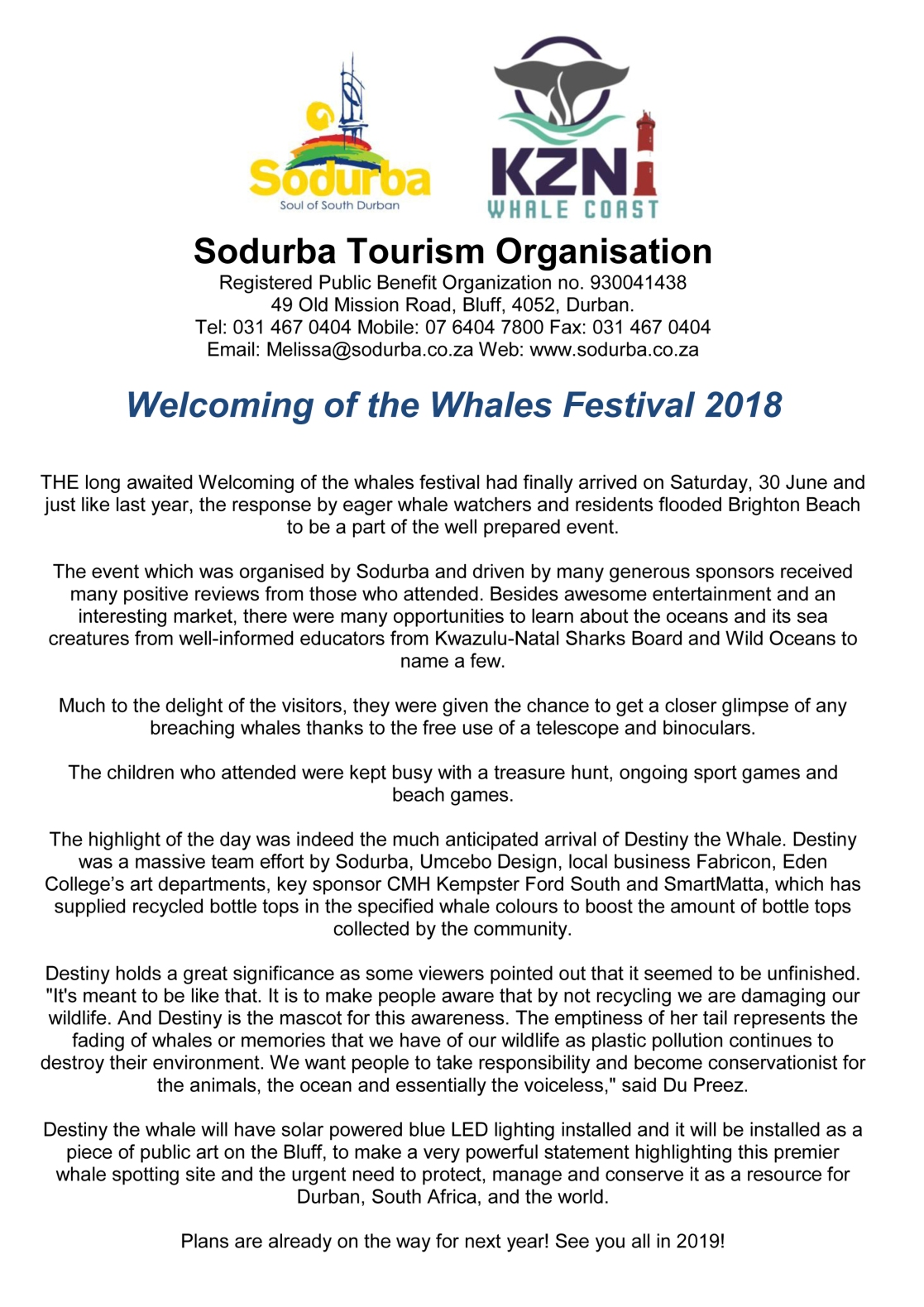 POST PR on Welcoming of the Whales Festival 2018